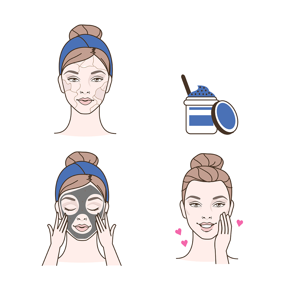 infographic showing woman with drying skin using a face mask and getting smoother skin