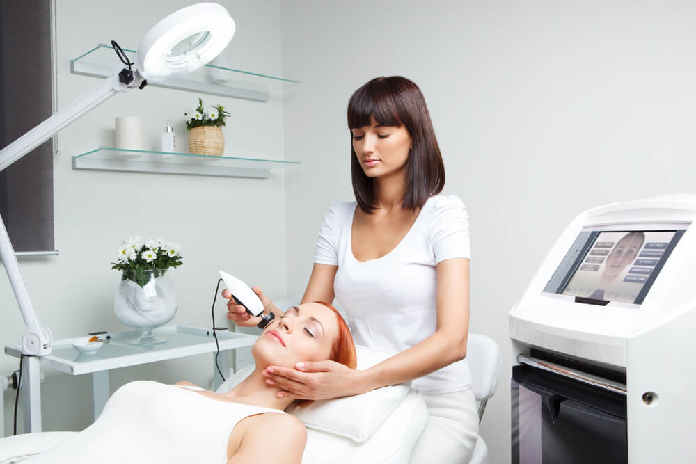 Woman having eMatrix RF treatment