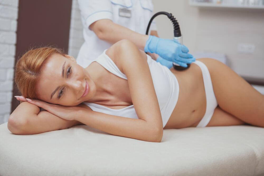 Woman having skin treatment