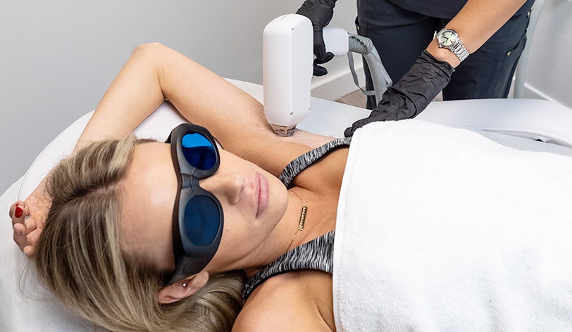 Patient Receiving Laser Hair Removal on Under arms