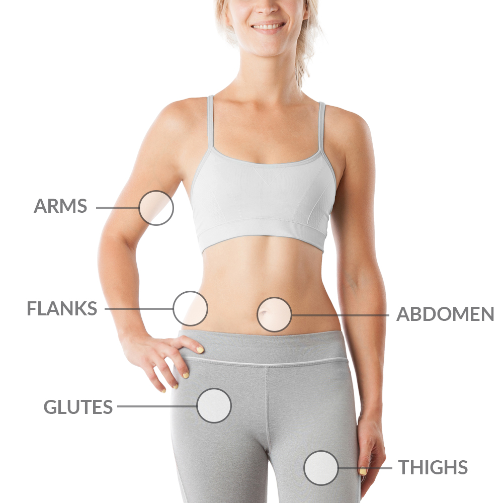 arms flanks, abdomen, glutes, thighs
