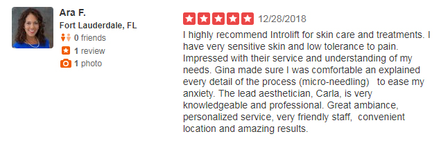 Yelp Review from Ara F. describing her Microneedling experience