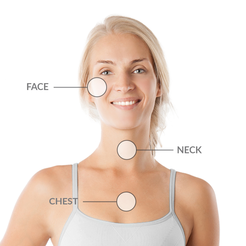 Face, Neck. Chest laser peel treatment