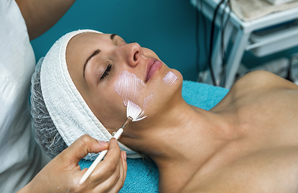 woman getting chemical peel treatment